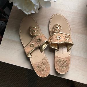 Jack Rodgers cork and gold sandals